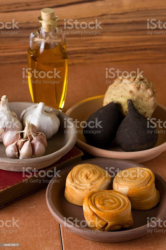 Cheese and various vegetable with olive oil stock photo