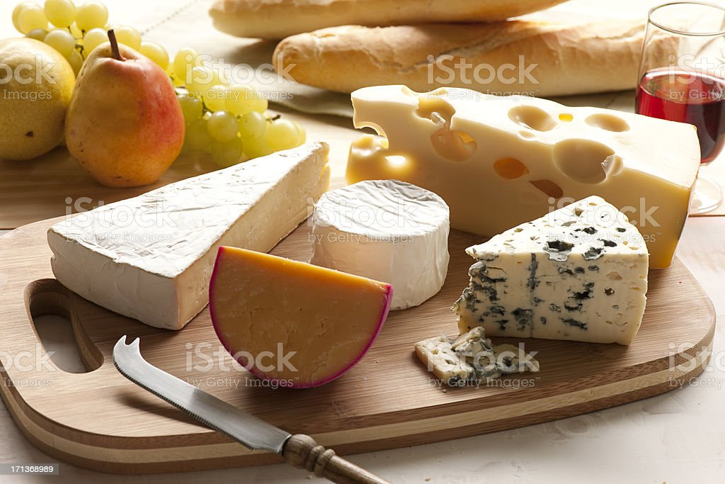 Cheese and Wine. stock photo