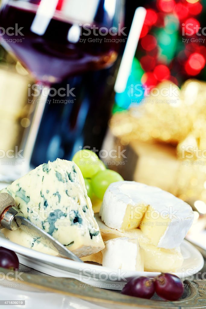 cheese and wine stock photo