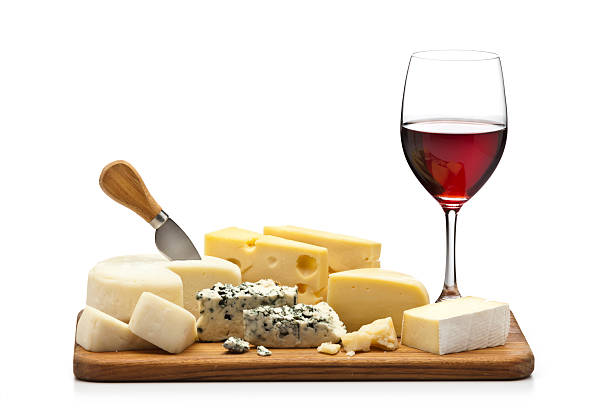 Cheese and wine platter stock photo