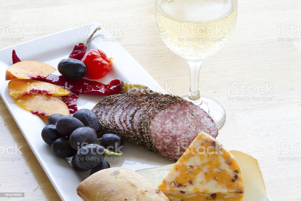 Cheese and wine snacks royalty-free stock photo