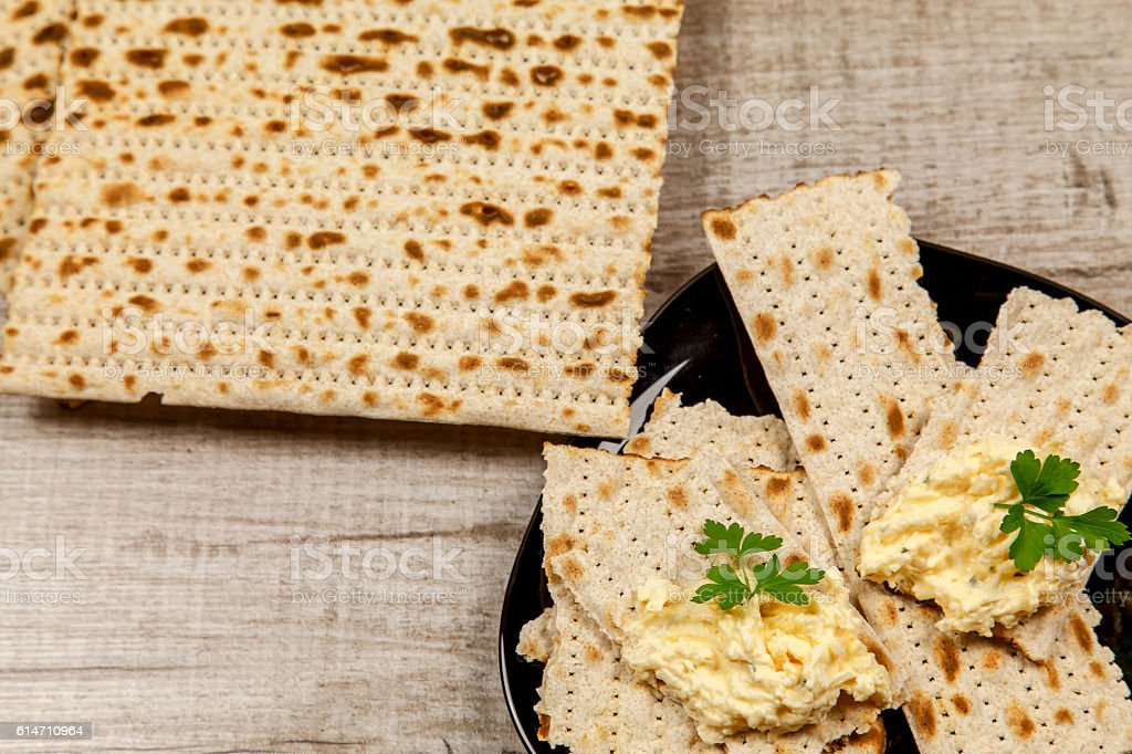 Cheese appetizer with garlic and matzo stock photo