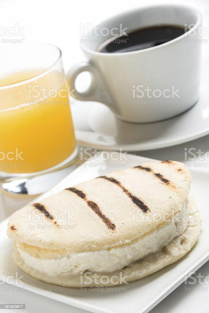 Cheese Arepa Breakfast stock photo