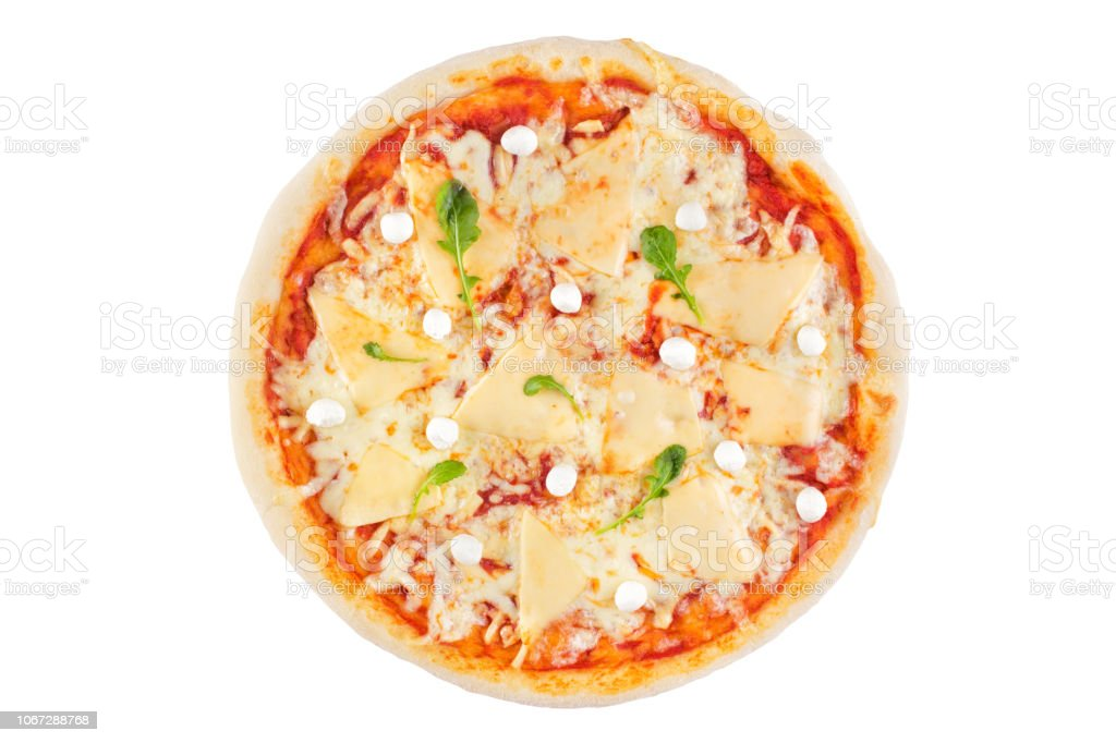 Cheese assorted pizza on a white background. View from above. stock photo