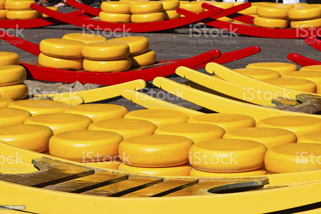 Cheese at Alkmaar market royalty-free stock photo