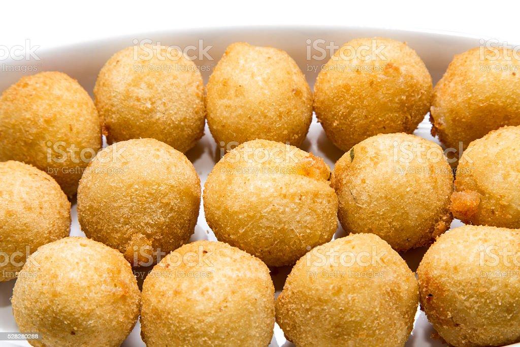 Cheese ball - brazilian snack fried stock photo
