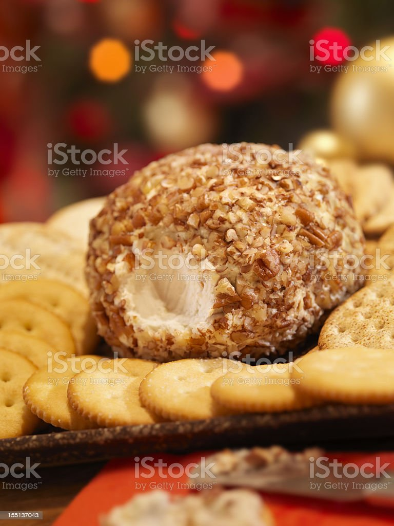 Cheese Ball with Crackers at Christmas Time stock photo