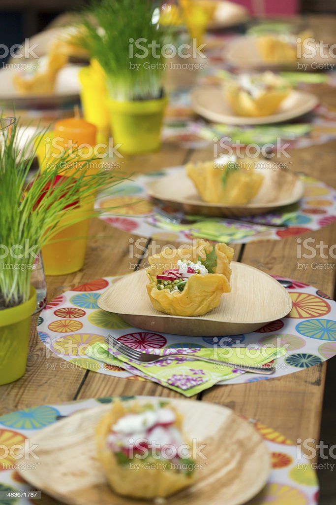 cheese basket with salad stock photo
