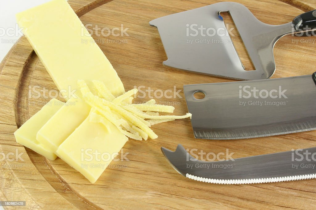 cheese, board and knives - Royalty-free Cheese Stock Photo