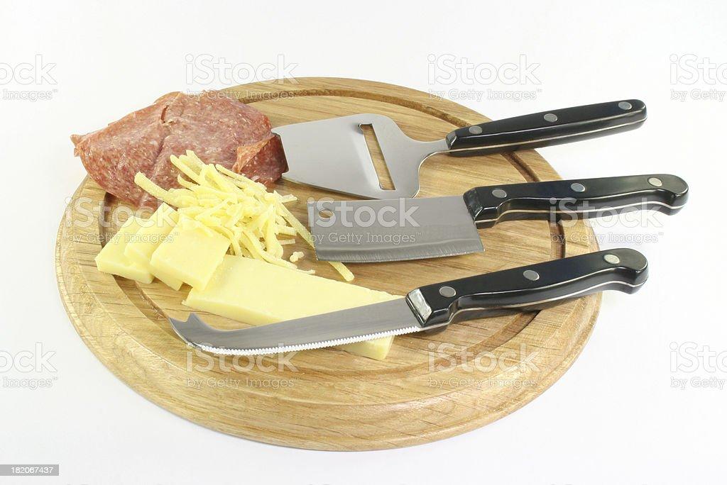 cheese board and peperoni - Royalty-free Antipasto Stock Photo