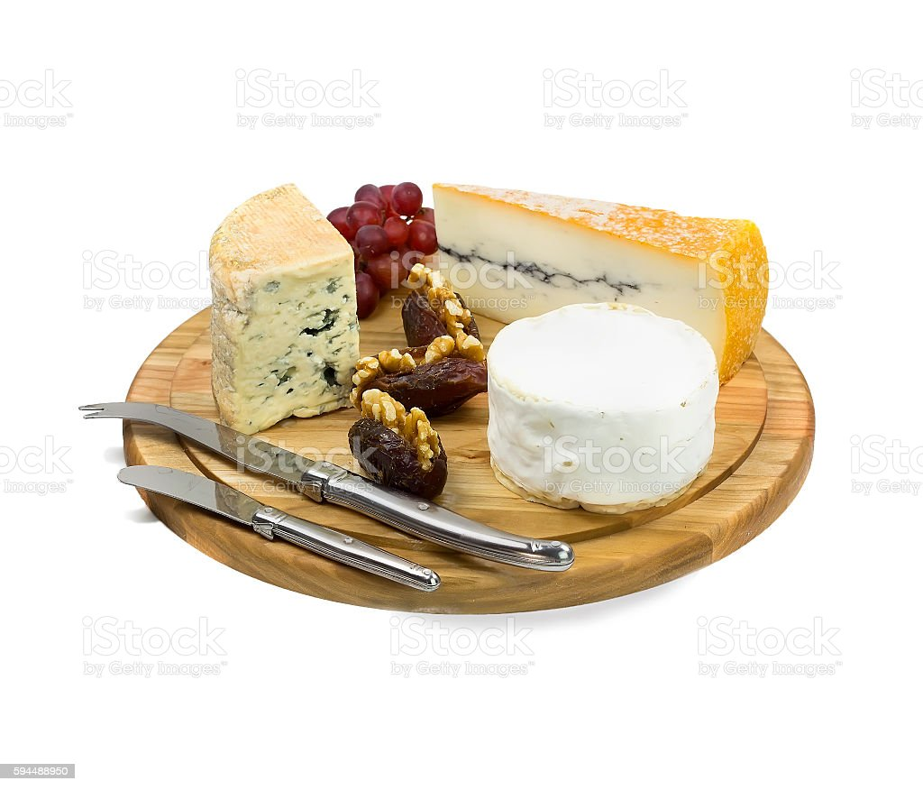 Cheese board with three varieties of french cheese on white background stock photo