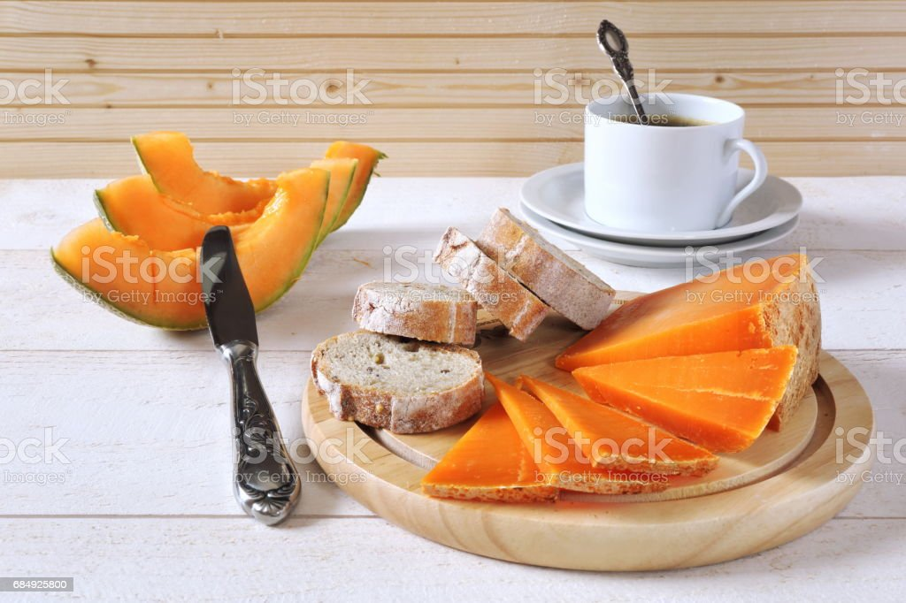 Cheese, bread and cup of coffee stock photo