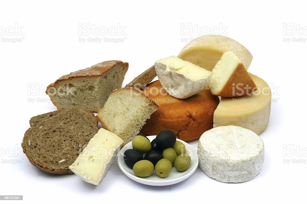 Cheese, bread and olives royalty-free stock photo