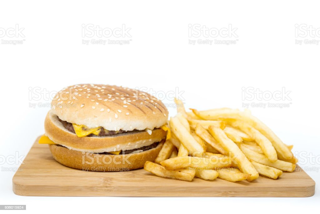 Cheese burger - American cheese burger with Golden French fries stock photo