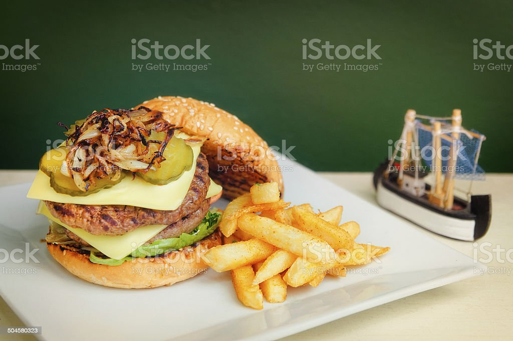 Cheese Burger and Fries stock photo