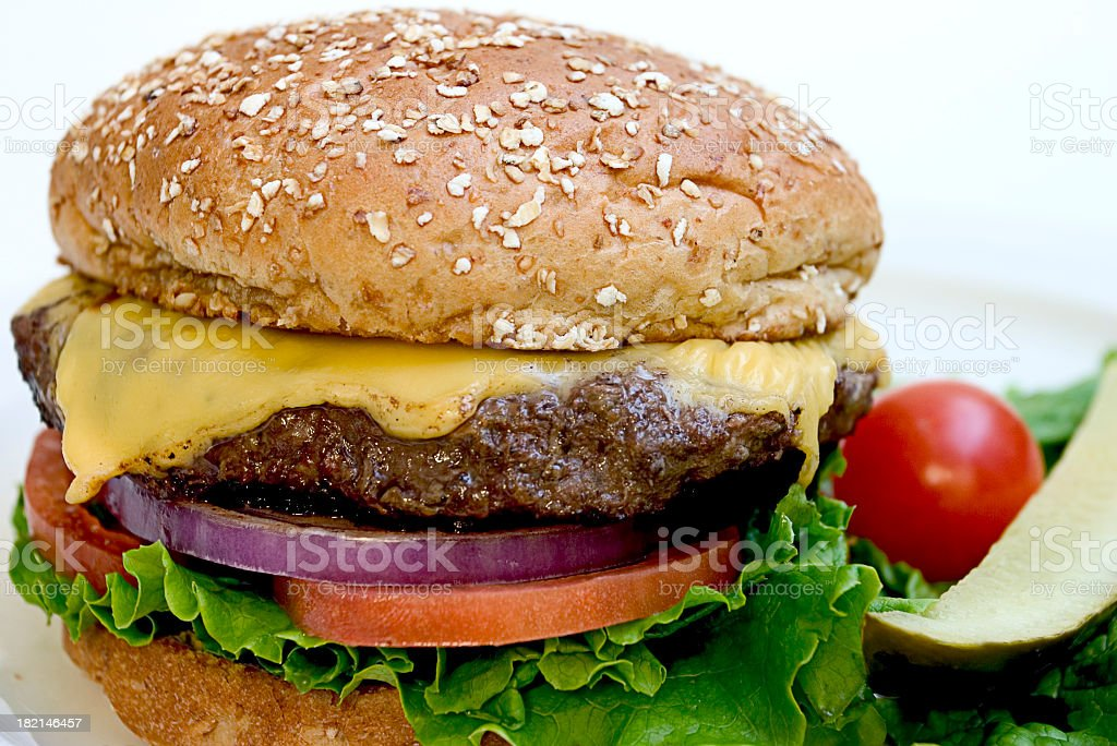 Cheese burger with vegetables and meat royalty-free stock photo