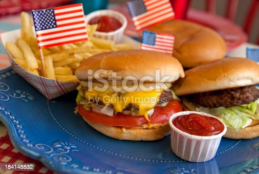 470765518istockphoto Cheese Burgers, Barbeque Hamburger, July Fourth & Labor Day Picnic Food 184148832