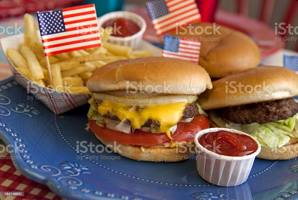 Cheese Burgers, Barbeque Hamburger, July Fourth & Labor Day Picnic Food stock photo