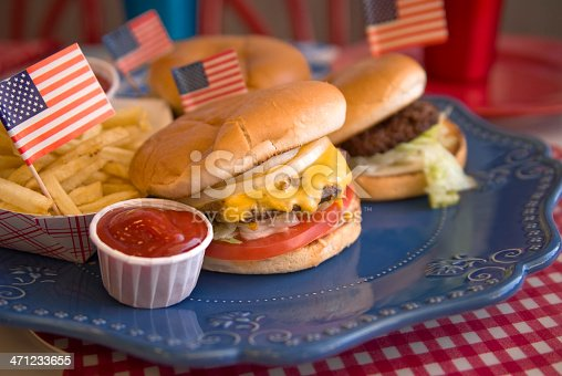 470765518istockphoto Cheese Burgers, Barbeque Hamburger, July Fourth & Labor Day Picnic Food 471233655