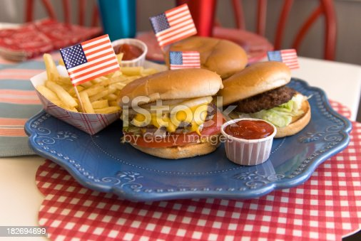 470765518istockphoto Cheese Burgers, Barbeque Hamburger, July Fourth, Labor & Memorial Day Picnic 182694699