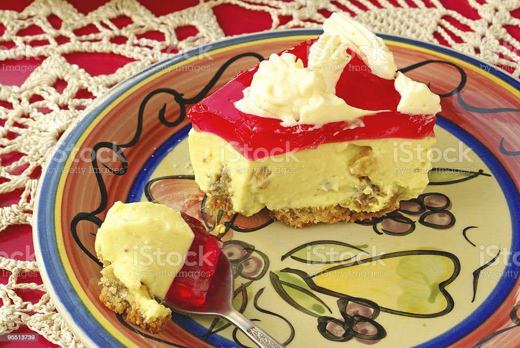 Cheese cake with red jelly royalty-free stock photo