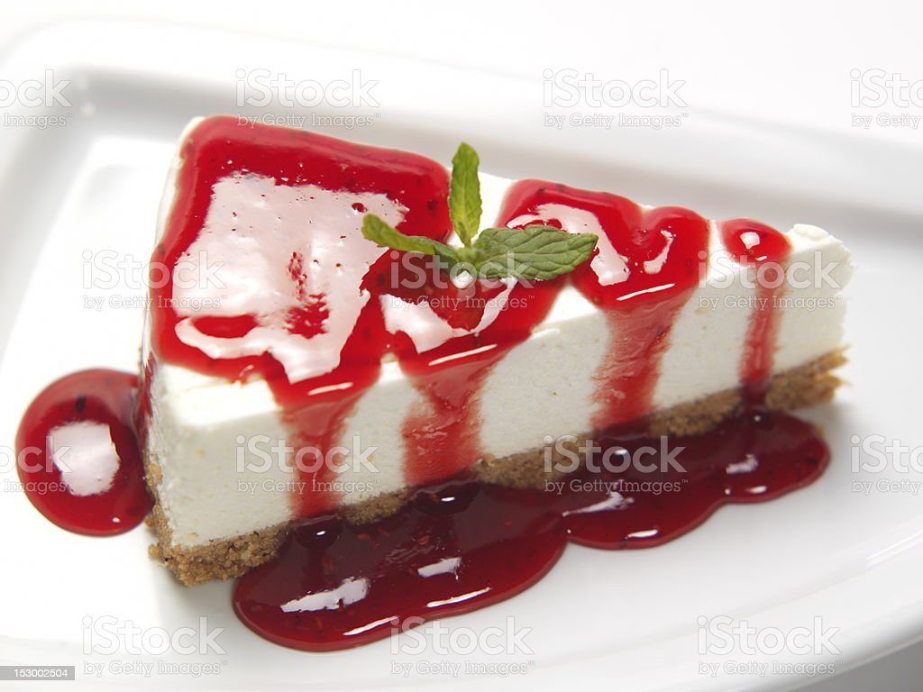 Cheese cake with strawberry sauce stock photo