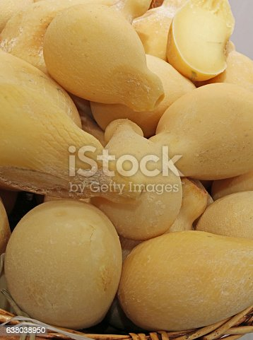 cheese called caciocavallo typical product food of the regions of Italy