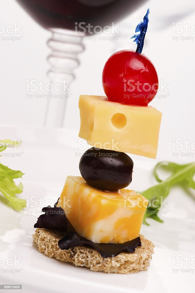 Cheese canape royalty-free stock photo