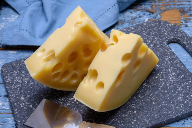 cheese collection, french hard cheese with holes emmentaler - emmentaler foto e immagini stock