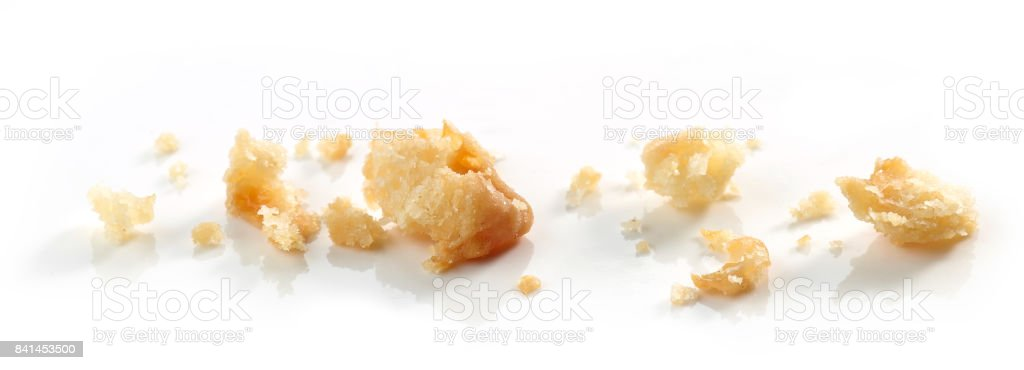 Cheese cookie crumbs stock photo