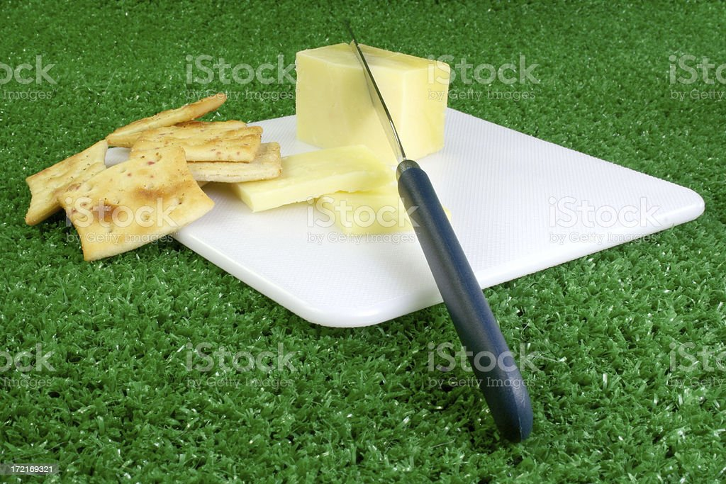 cheese, crackers and cutting board on grass royalty-free stock photo