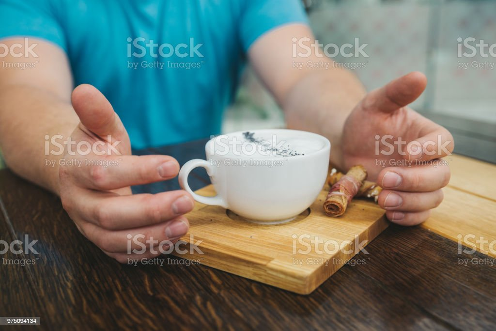 cheese cream soup close up on wooden cafe table stock photo