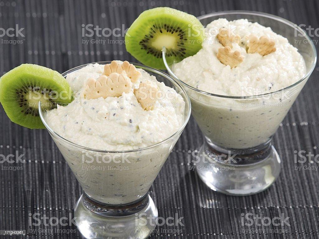 Cheese cream with kiwi fruit royalty-free stock photo