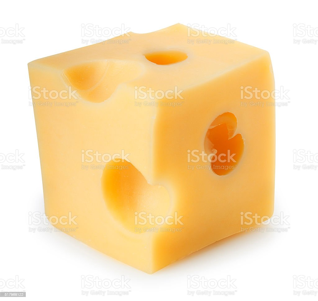 Cheese cube isolated on white stock photo