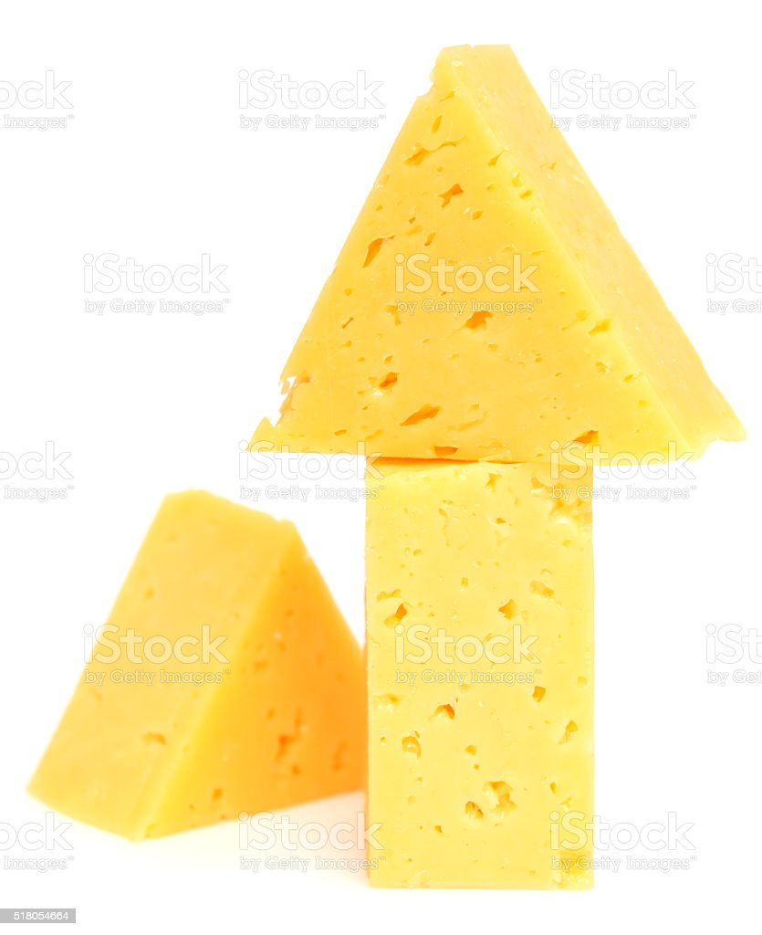 cheese cubes on white stock photo
