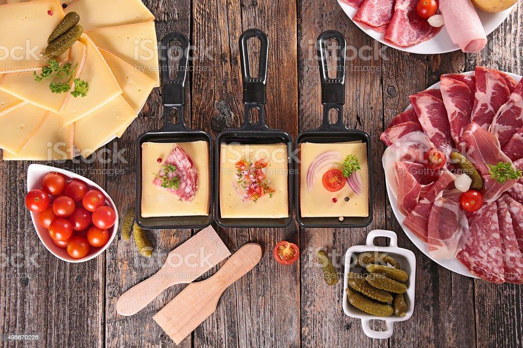 cheese, delicatessen and potato stock photo