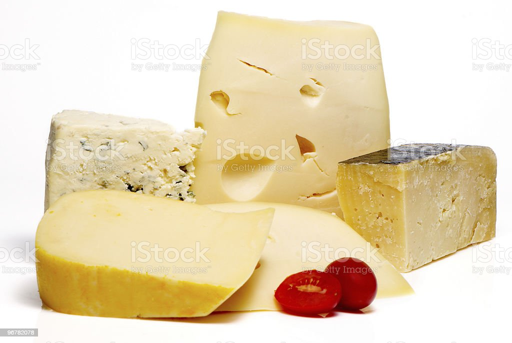 Cheese Different Sorts a on white background stock photo