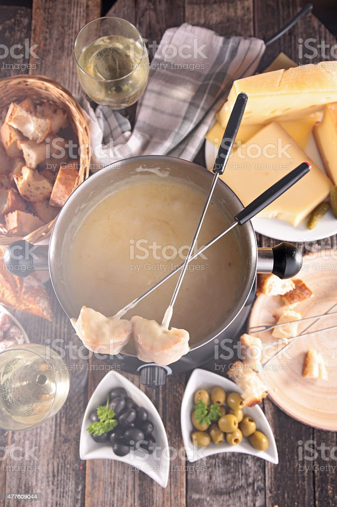 cheese fondue and ingredient stock photo