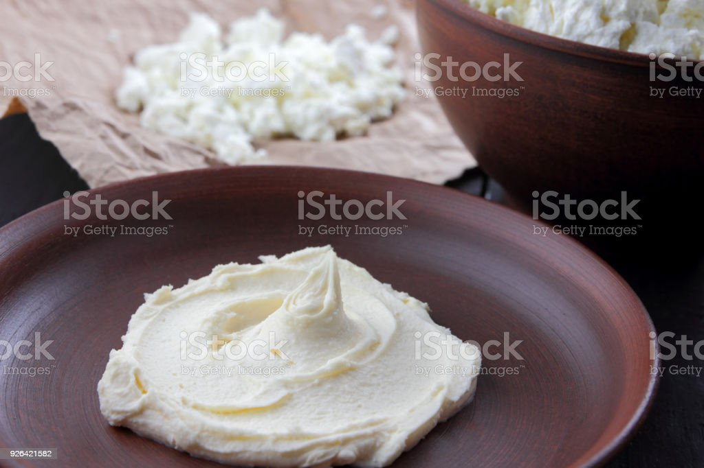 cheese fresh cottage cheese and sour cream in earthenware goat curd rh istockphoto com