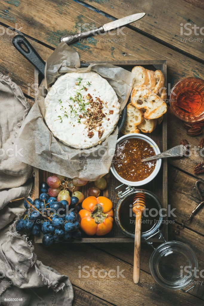 Cheese Fruit Wine Set In Wooden Tray Over Rustic Background Royalty Free Stock