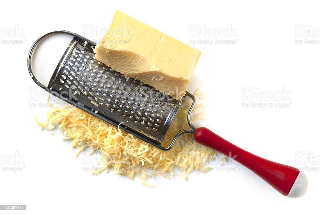 Cheese Grater with Cheddar stock photo