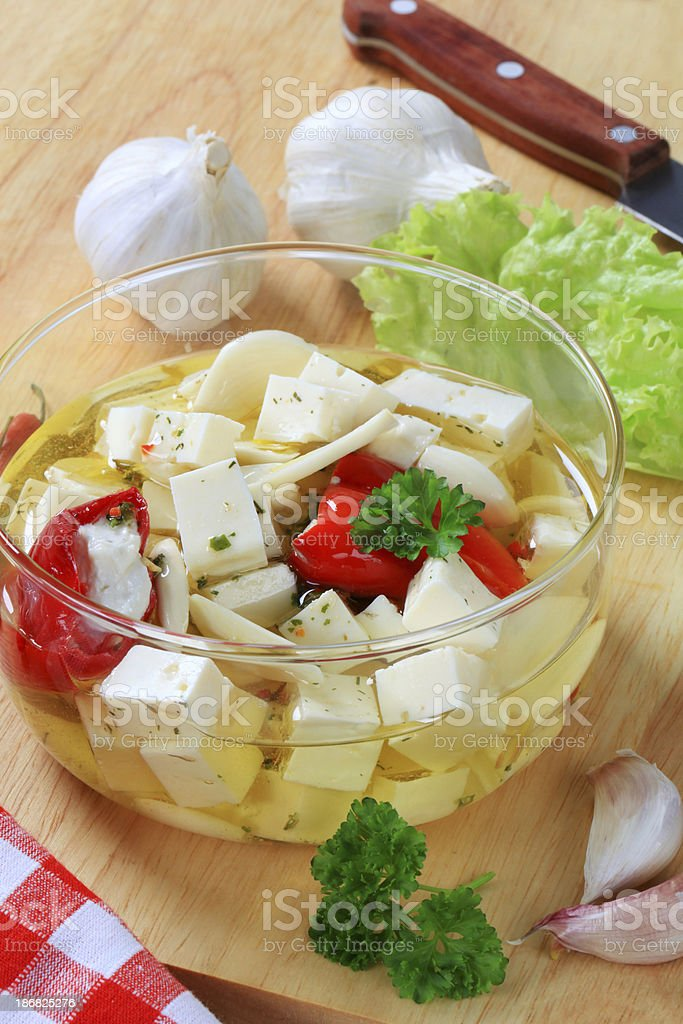 Cheese in glass bowl royalty-free stock photo