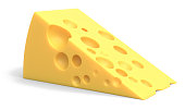 cheese, on white background, 3d rendering