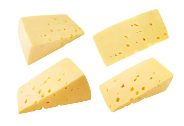 cheese isolated - maasdam foto e immagini stock