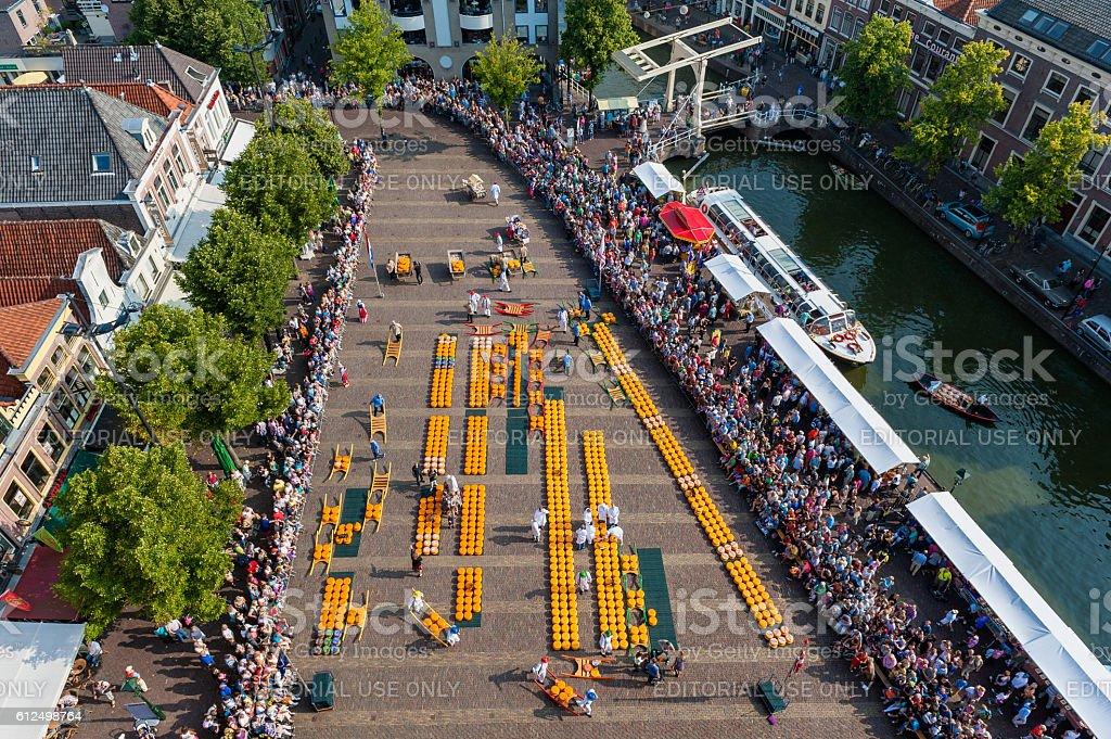 Cheese Market in Alkmaar Netherlands stock photo