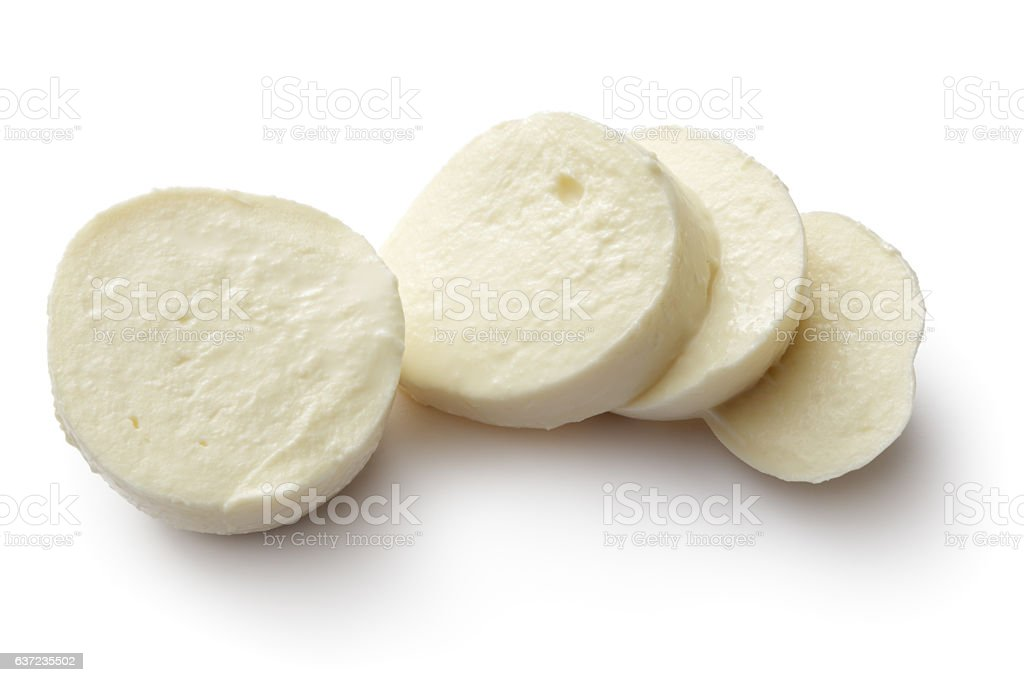 Cheese: Mozzarella Isolated on White Background stock photo