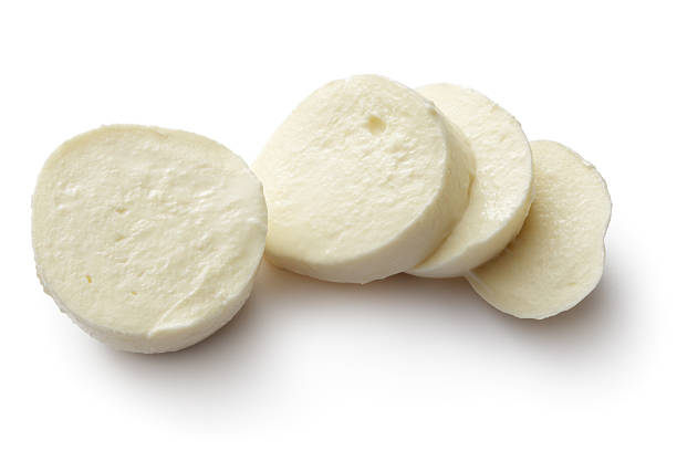 cheese: mozzarella isolated on white background - mozzarella foto e immagini stock
