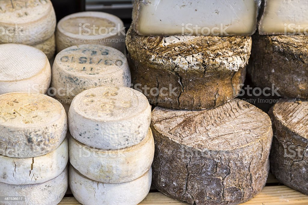 Cheese on Display at a Traditional Food Market stock photo