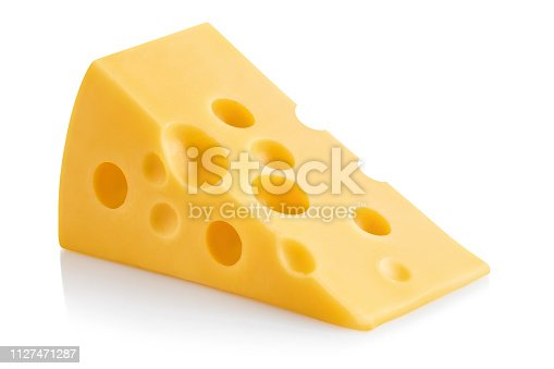 Delicious piece of cheese, isolated on white background