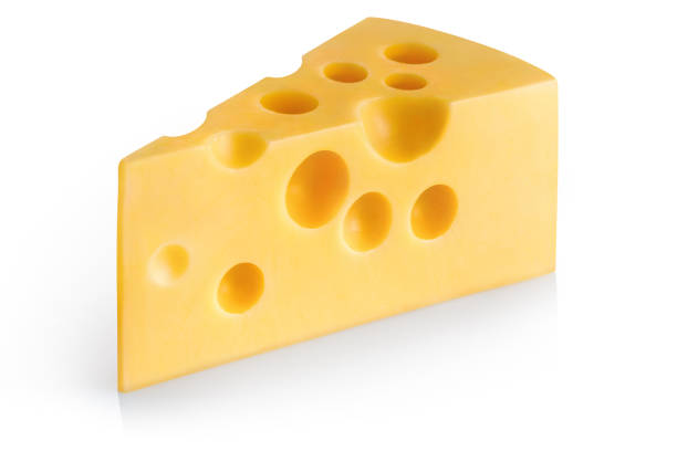 cheese on white - maasdam foto e immagini stock